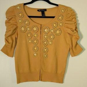 INC Vintage Style Mustard Yellow Beaded Cardigan S
